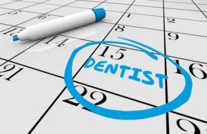 date of dental checkup circled in blue on calendar
